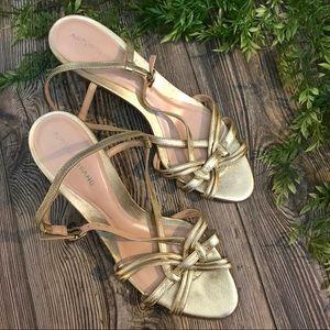 arturo chiang // glam metallic gold wood wedges 10